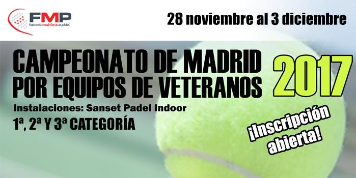 CAMPEONATO DE MADRID POR EQUIPOS DE VETERANOS DE 1ª, 2ª y 3ª CATEGORÍA