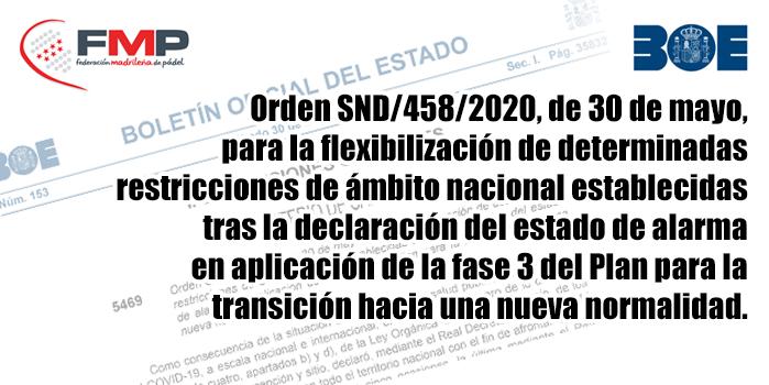 BOE - Orden SND/458/2020, de 30 de mayo