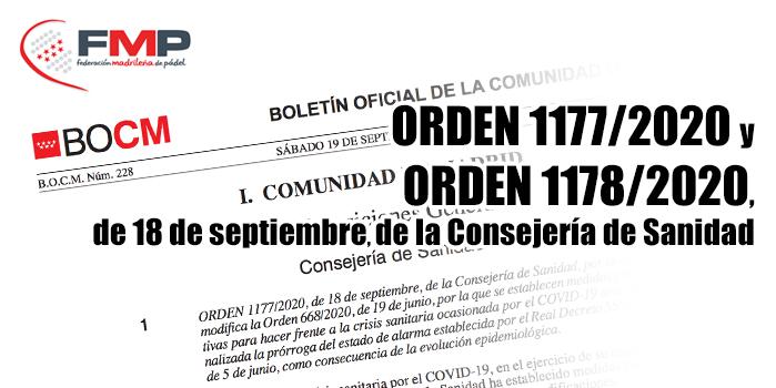 ORDEN 1177/2020 Y ORDEN 1178/2020, de 18 de septiembre, de la Consejería de Sanidad