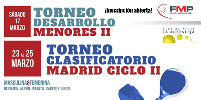 TORNEO DESARROLLO II Y CLASIFICATORIO II - Inscripción abierta