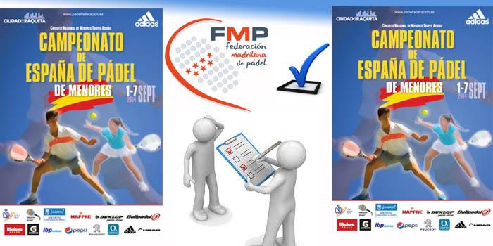 La FMP abonará las inscripciones de sus federados en el Cto de España de Pádel de Menores 2014 en Ciudad de la Raqueta