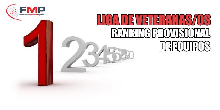 LIGA DE VETERANAS/OS: Ranking provisional de equipos